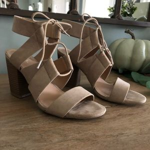 Merona Lace Up Suede Taupe Block Heels 8